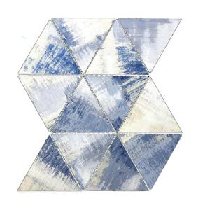 Nature Cement Blue Triangle Mosaic 4 in. x 5 in. Glass Mesh Mounted Wall Tile (1 Sq. ft.)