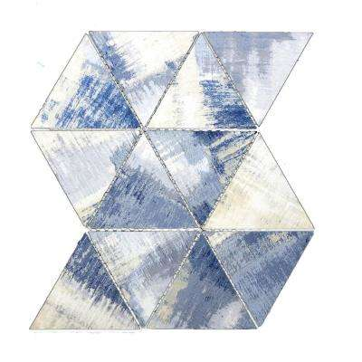 Nature Triangle Cement Blue 12 in. x 11.625 in. x 6.35 mm Glass Mosaic Tile