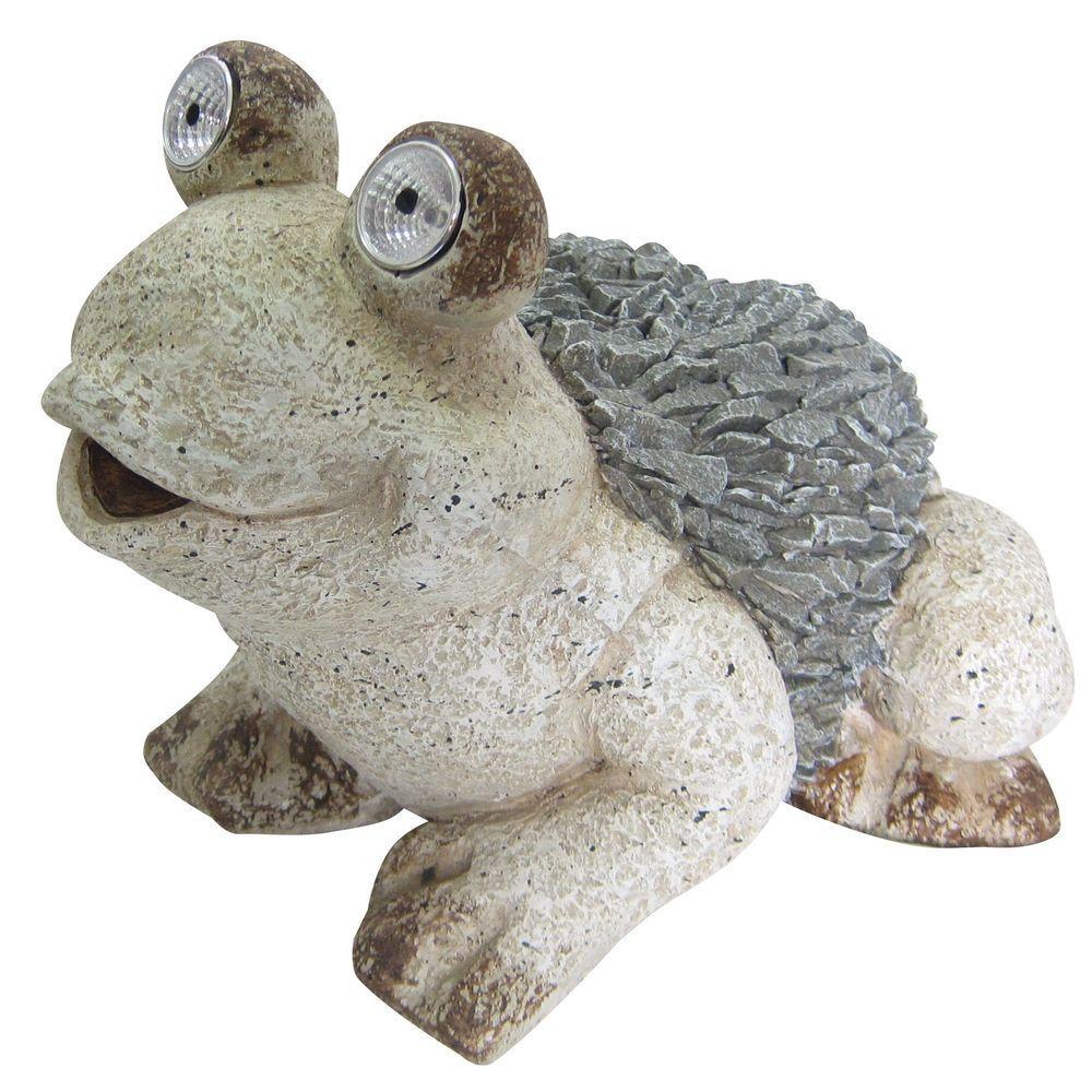 12 in. Solar Frog Statue