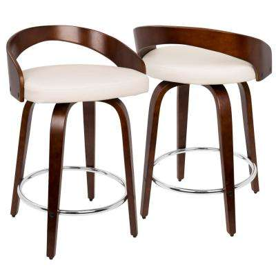 Grotto Cherry Wood And White Swivel Counter Stool
