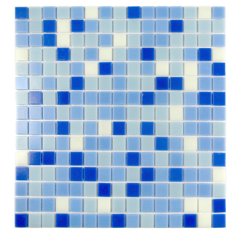 Felicity Sky Blue Mix 13 in. x 13 in. Glass Paper Faced Mosaic Tile ...