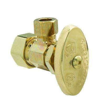 1/2 in. Nom Comp Inlet x 3/8 in. O.D. Comp Outlet Multi-Turn Angle Valve in Polished Brass