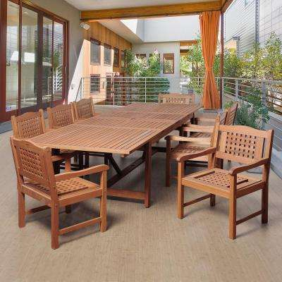 Dominique 9-Piece Eucalyptus Extendable Rectangular Patio Dining Set