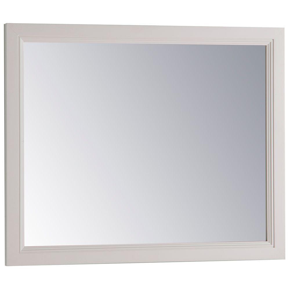 26 in. x 31 in. Framed Single Wall Mirror in Cream