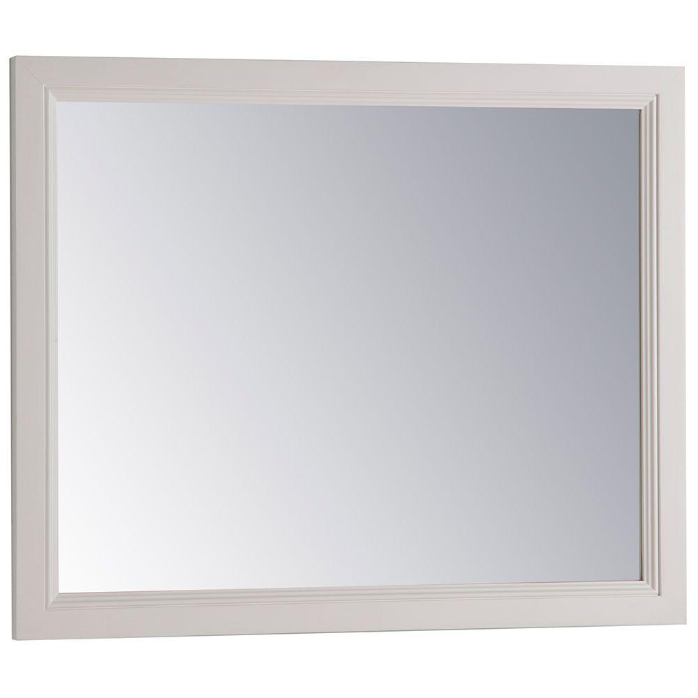 Home Decorators Collection 31 in. W x 26 in. H Framed Single Wall Mirror in Cream