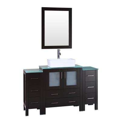 54 in. W Single Bath Vanity with Tempered Glass Vanity Top in Green with White Basin and Mirror