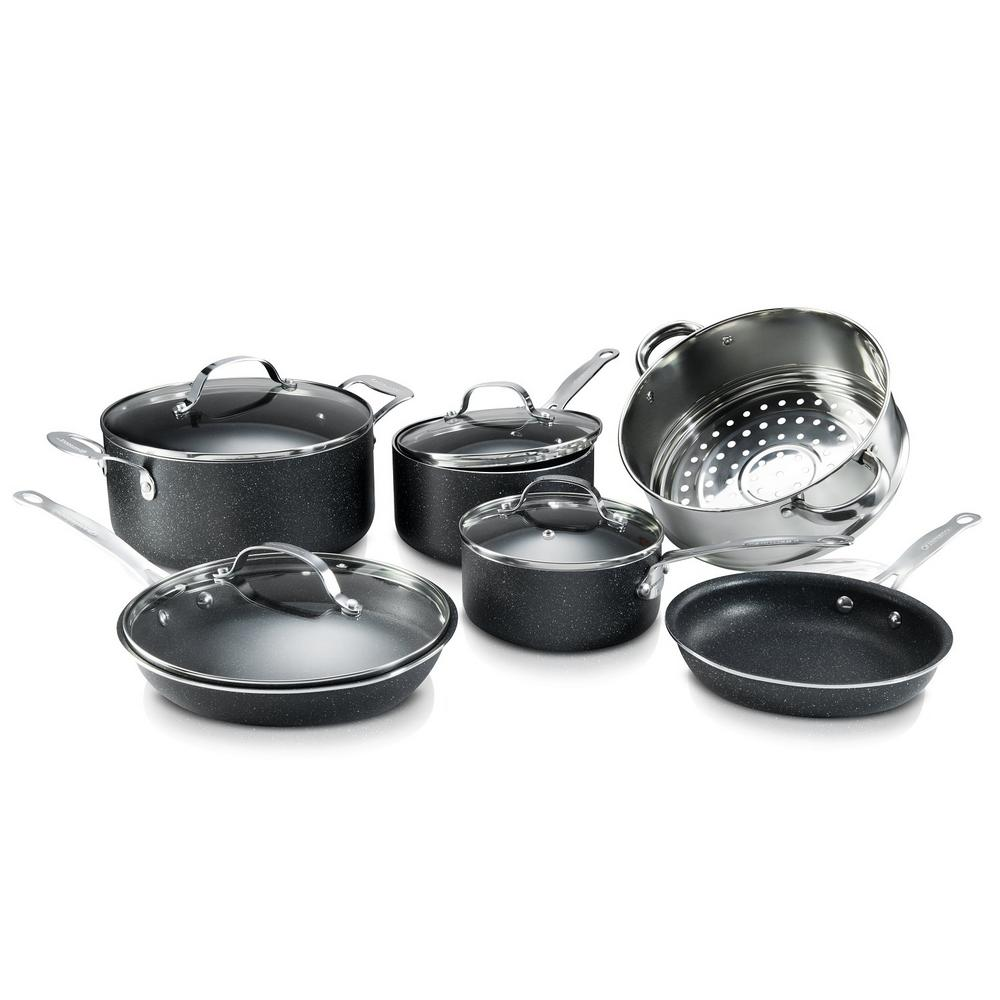 10-Piece Titanium Charcoal Non-Stick Coating Mineral Enforced Cookware Set with