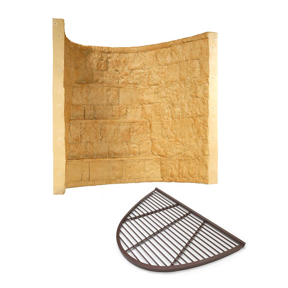 Rockwell 66 in. x 44 in. x 60 in. Tan Elite Composite Window Well with Aluminum Bar Grate
