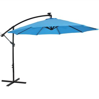9.5 ft. Offset Cantilever Patio Umbrella in Azure with Solar LED Lights