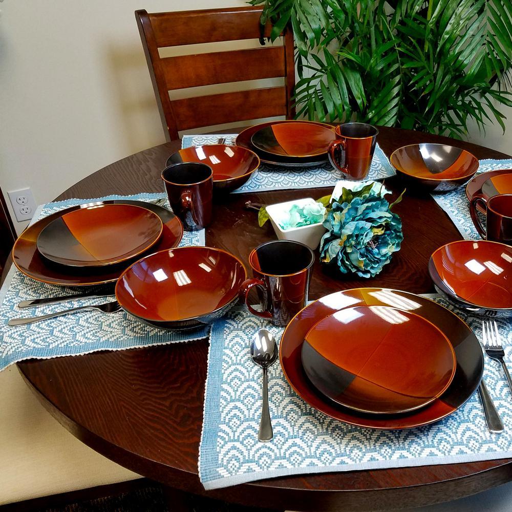 Gibson Convergence 16-Piece Brown Dinnerware Set