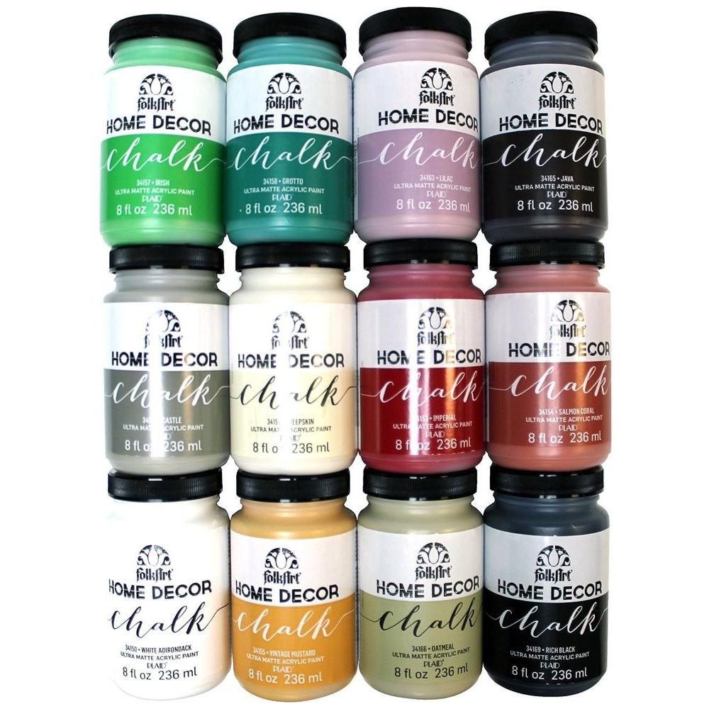 Home Decor 8 oz. 12-Color Ultra Matte Chalk Finish Paint Set