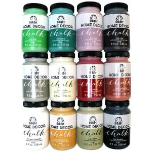 Click here to buy FolkArt Home Decor 8 oz. 12-Color Ultra Matte Chalk Finish Paint Set by FolkArt.