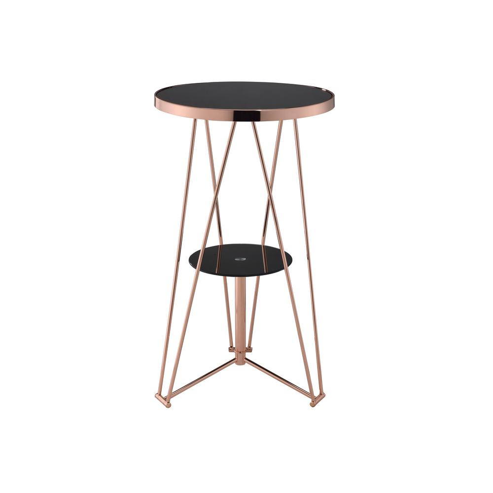 Jarvis Black and Rose Gold Storage Pub/Bar Table