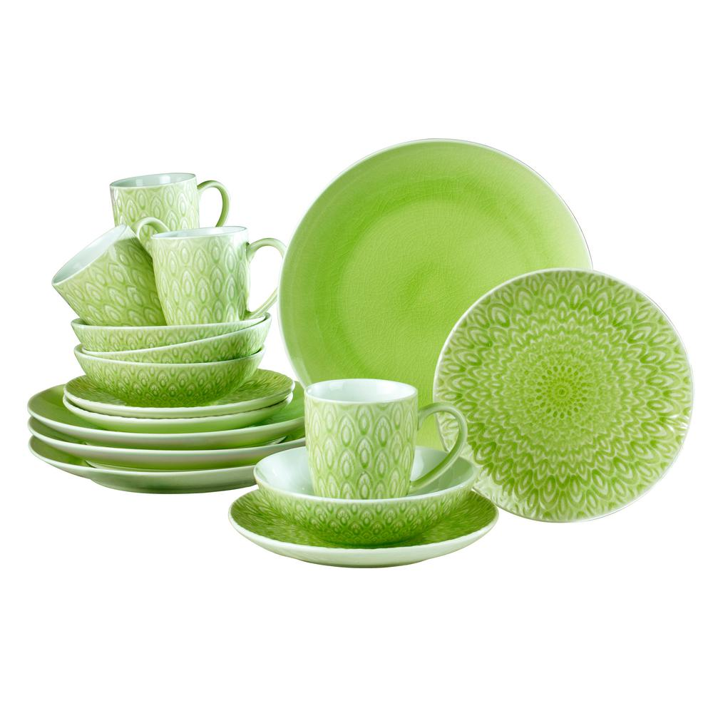Peacock 16 Piece Lime Green Crackle-glaze Dinnerware Set