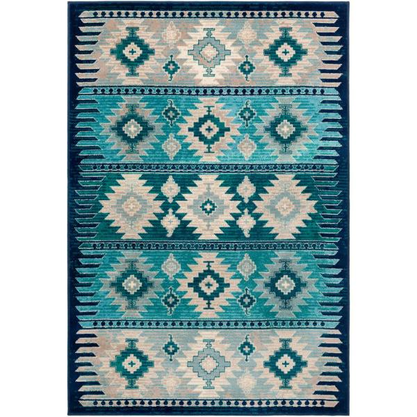 Artistic Weavers Mirta Blue 5 Ft 3 In X 7 Ft 9 In Native American Area Rug S00161027175 The Home Depot