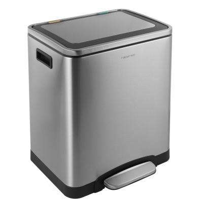 Elmo Rectangular 8 Gal. Double Bucket Trash Can with Soft-Close Lid
