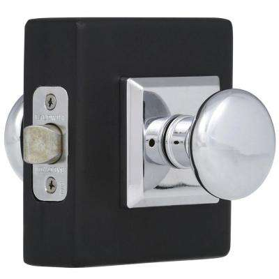 Reserve Round Polished Chrome Bed/Bath Door Knob with Traditional Square Rose