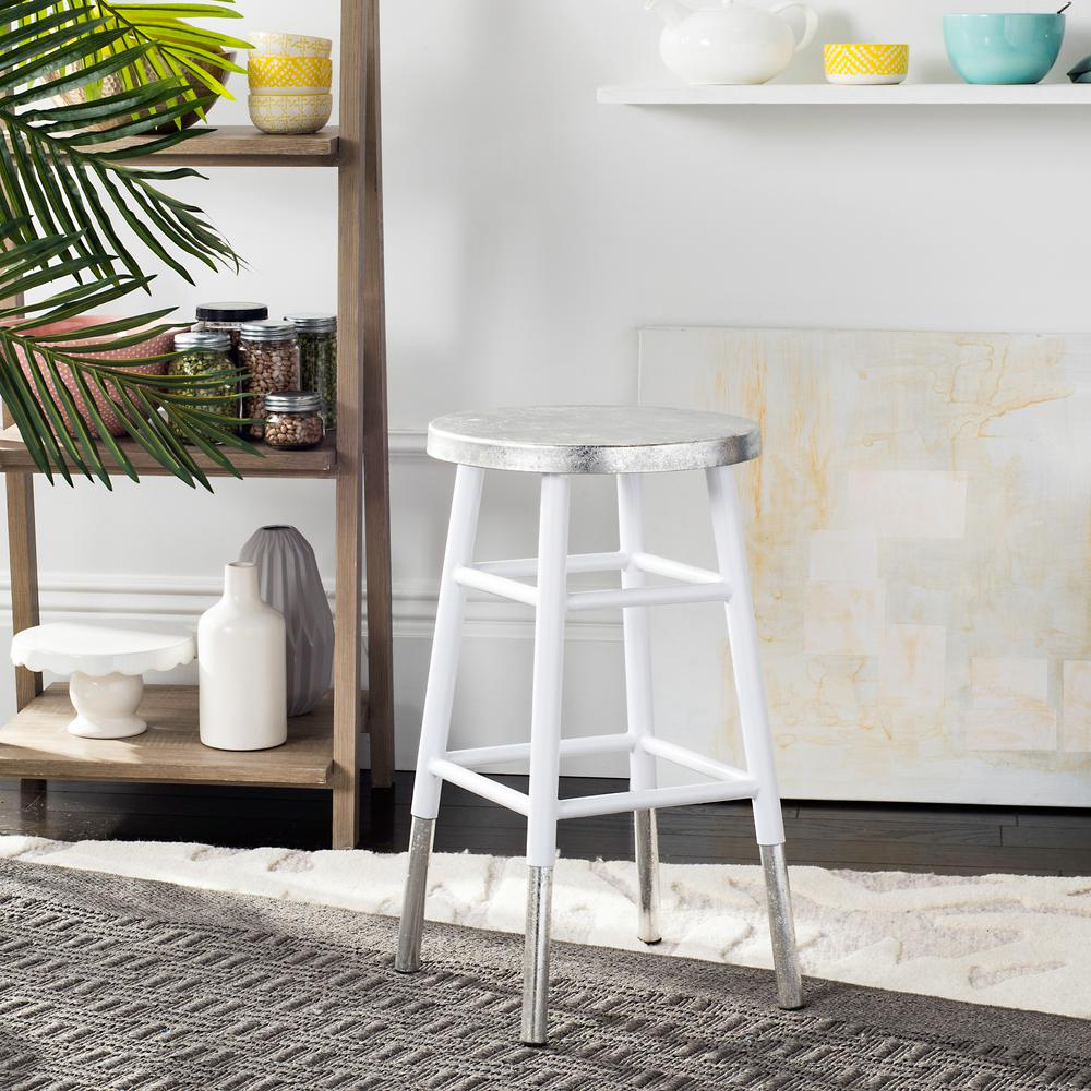 Pleasant Safavieh Kenzie 24 In Silver Dipped Counter Stool In White Lamtechconsult Wood Chair Design Ideas Lamtechconsultcom