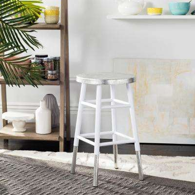 Kenzie 24 in. Silver Dipped Counter Stool in White