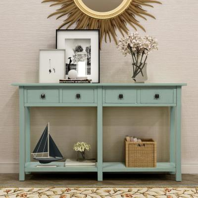 Green Rustic Console Table with 4-Drawers and Shelf