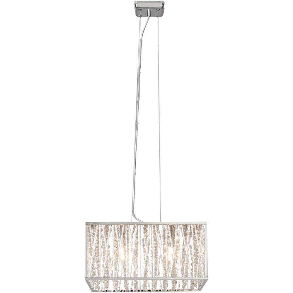Home Decorators Collection Saynsberry 4-Light Chrome and Crystal Square Shape Pendant