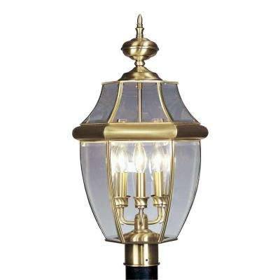 3-Light 24 in. Outdoor Post Head Antique Brass Finish Clear Beveled Glass