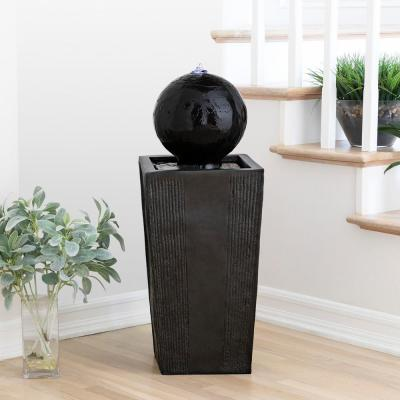 33 in. Tall Outdoor Modern Sphere and Pedestal Fountain with LED Light