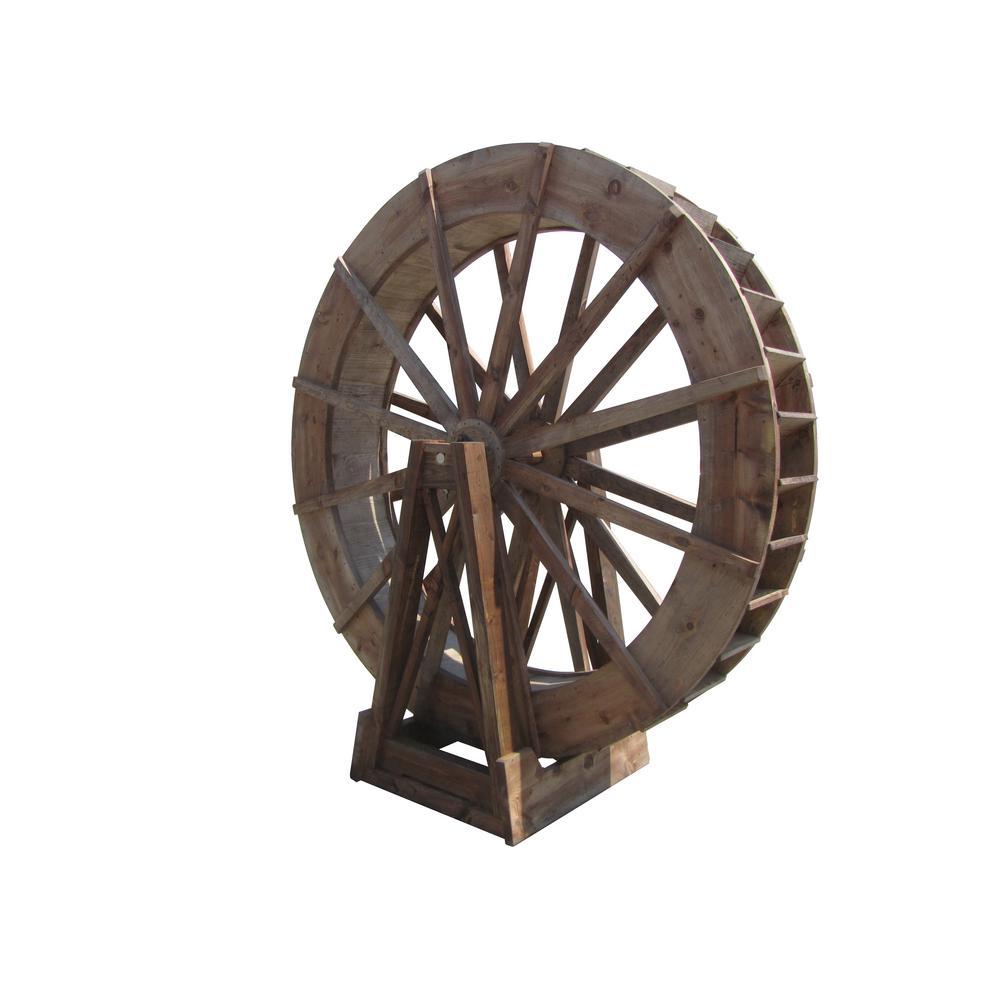 8 ft. Free-Standing Japanese Wood Water Wheel