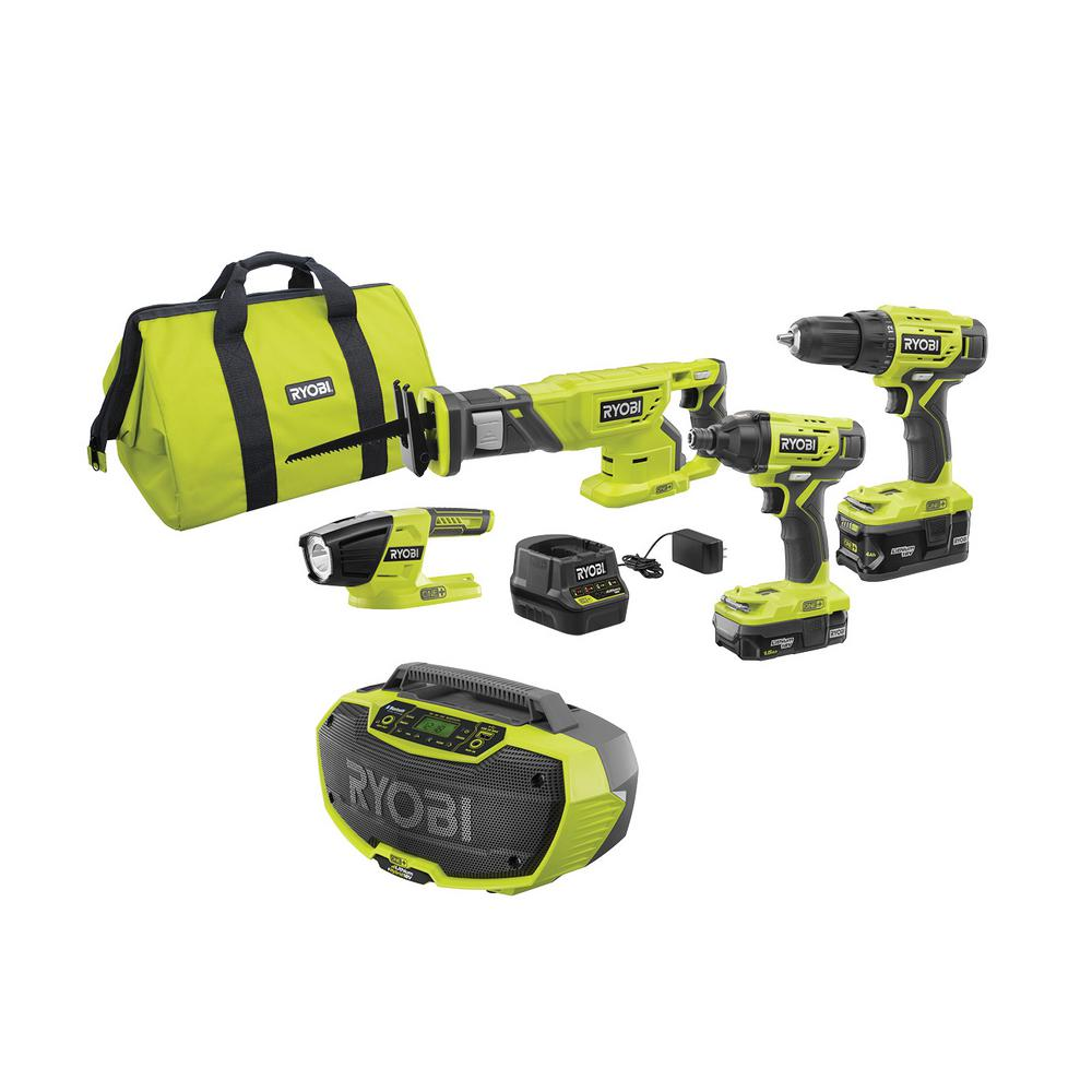 RYOBI 18-Volt ONE+ Cordless 4-Tool Combo Kit with (2) Batteries, 18-Volt Charger, Bag, and Hybrid Stereo