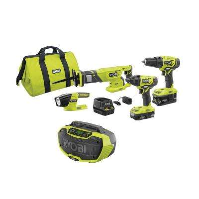 18-Volt ONE+ Cordless 4-Tool Combo Kit with (2) Batteries, 18-Volt Charger, Bag, and Hybrid Stereo