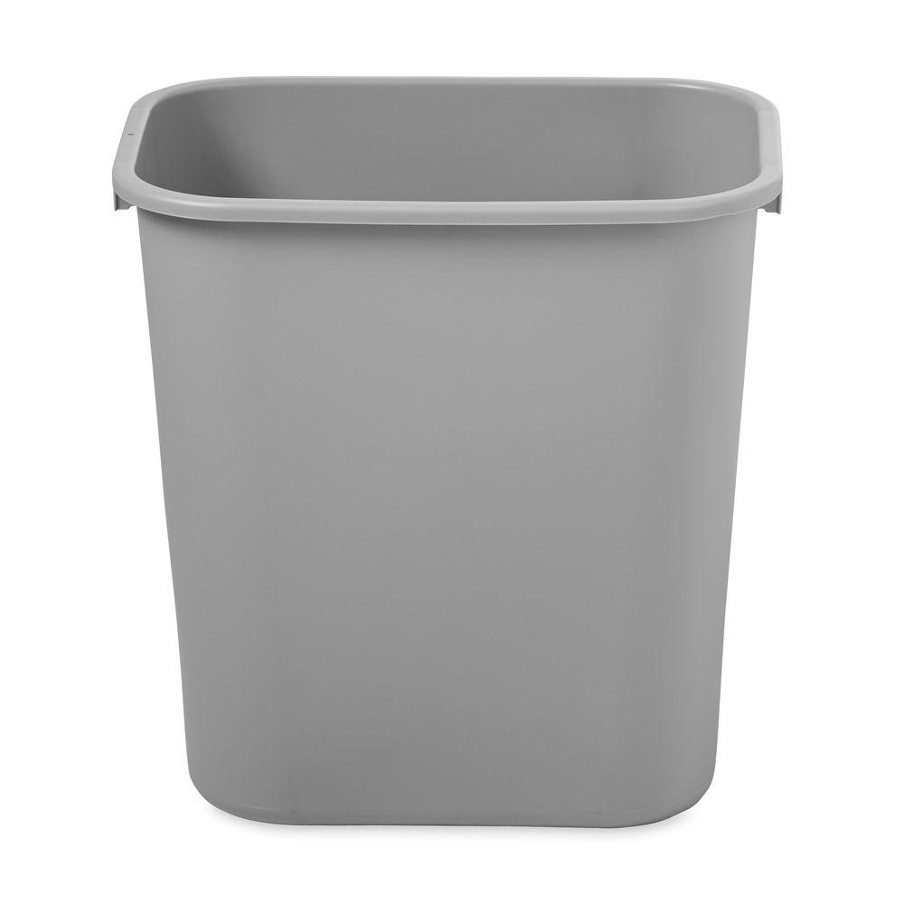 23 Gal Gray Rectangular Trash Can Plastic Garbage Bin Lidless Waste Container