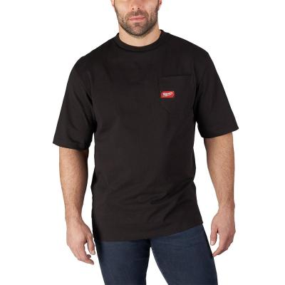 Men's X-Large Black Heavy Duty Cotton/Polyester Short-Sleeve Pocket T-Shirt