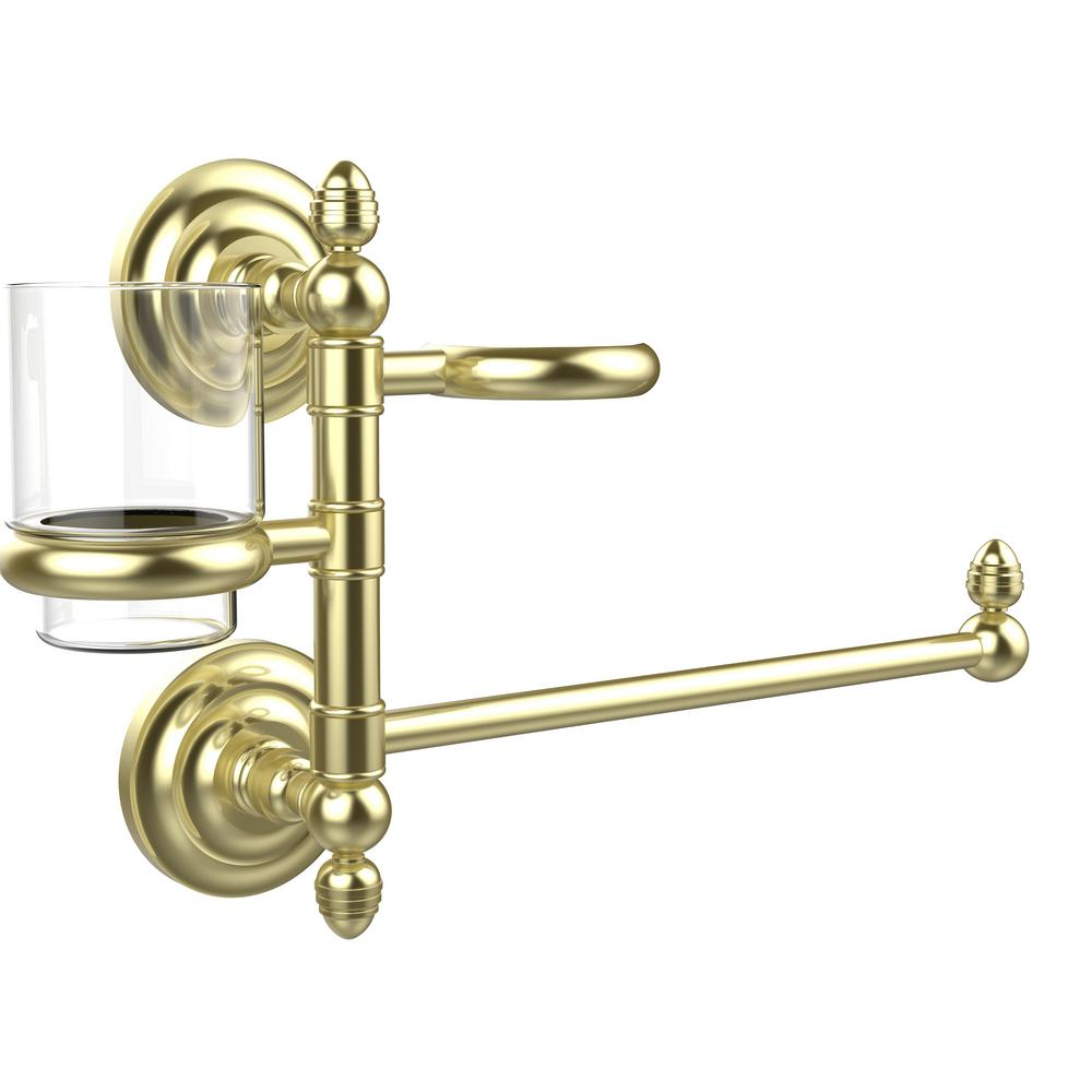 Allied Brass Que New Collection Hair Dryer Holder and Organizer in Satin Brass