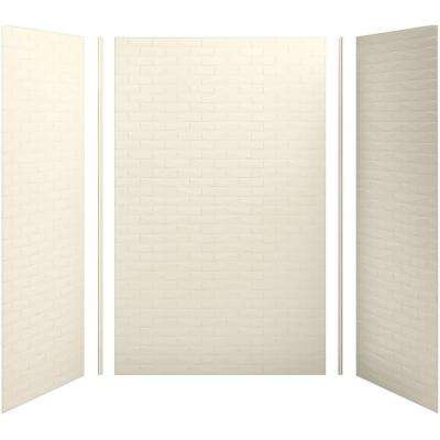 Choreograph 60in. X 36 in. x 96 in. 5-Piece Shower Wall Surround in Almond with Brick texture for 96 in. Showers