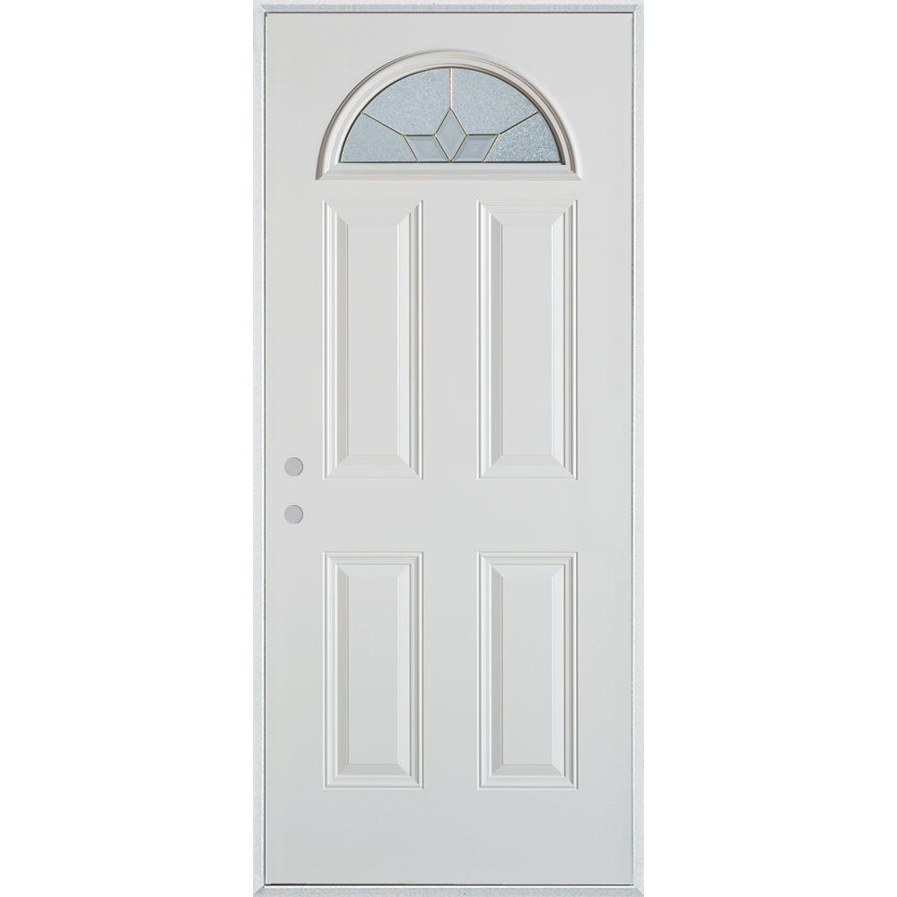 Stanley Doors 32 in. x 80 in. Geometric Brass Fan Lite 4-Panel Painted White Right-Hand Inswing Steel Prehung Front Door