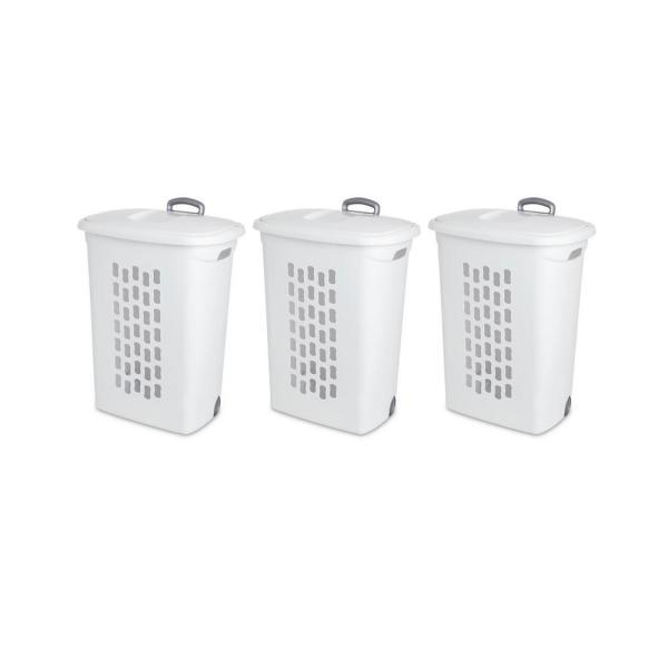 Laundry Hampers with Lift-Top Wheels and Pull Handle (3-Pack)