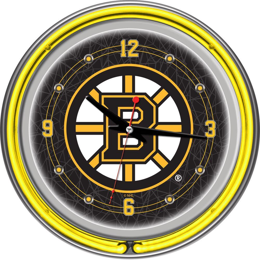 Trademark Global 14 in. Boston Bruins NHL Neon Wall Clock