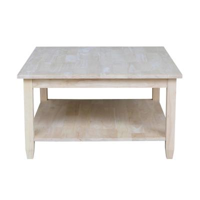 Solano 32 in. Unfinished Medium Square Wood Coffee Table with Shelf