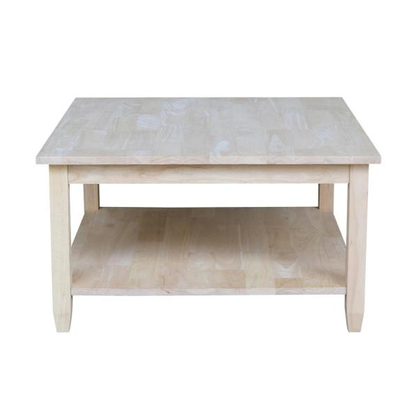 Solano 32 in. Unfinished Medium Rectangle Wood Coffee Table with Shelf