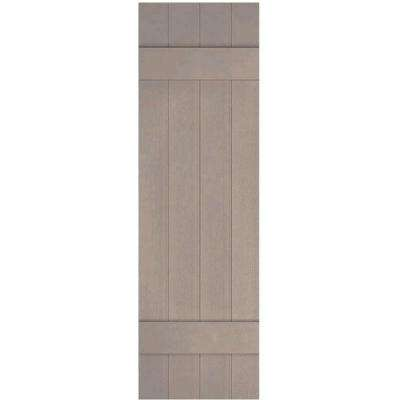 14 in. x 49 in. Lifetime Vinyl Custom Four Board Joined Board and Batten Shutters Pair Clay