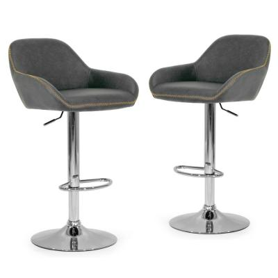32.75 in. Vintage Grey Color Faux Leather with Contrasting Stitching Alan Adjustable Height Swivel Bar Stool (Set of 2)