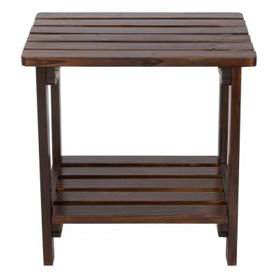 Burnt Brown Rectangular Wood Side Table