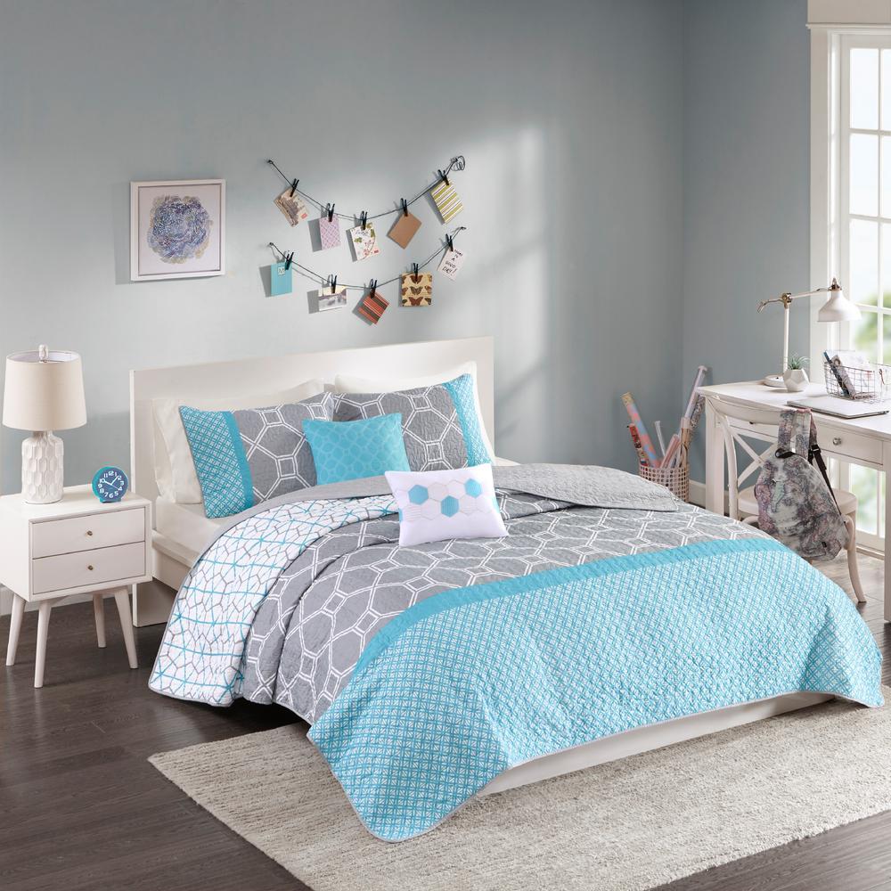 Zara 5-Piece Blue Full/Queen Geometric Coverlet Set