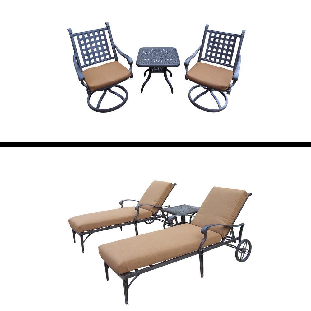 Belmont Premier 6-Piece Aluminum Patio Conversation Set with Sunbrella Brown Cushions