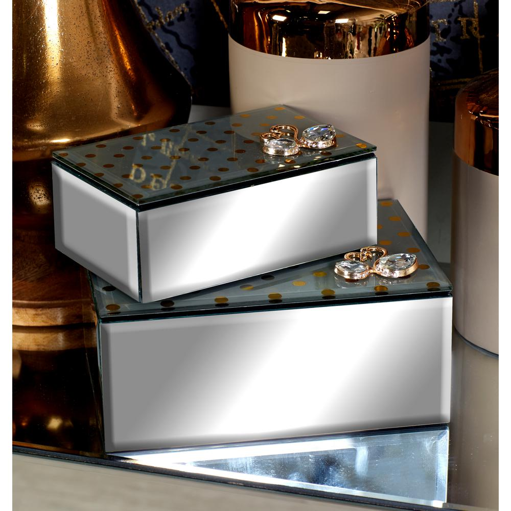 mirrored jewelry boxes with gold swan embellishments set of 2
