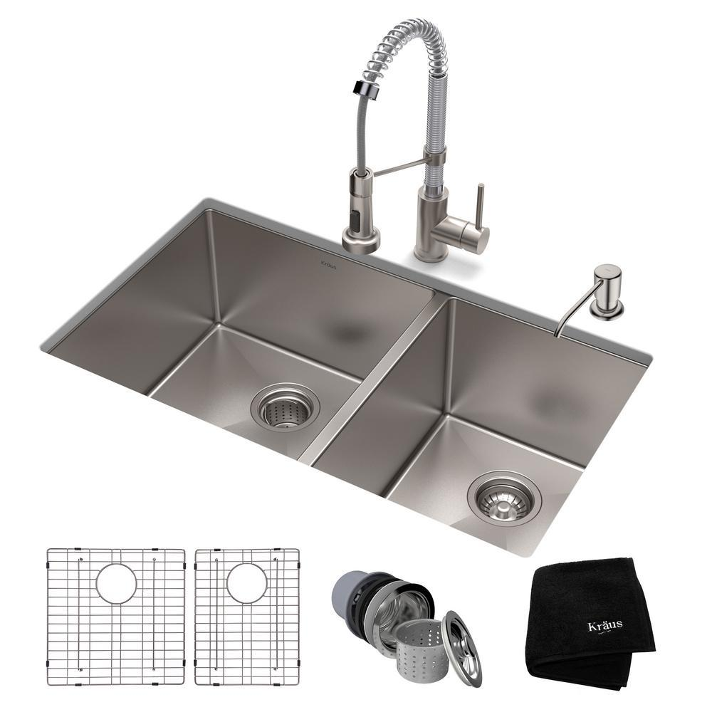 Kraus Standart Pro All In One Undermount Stainless Steel 33 Double Bowl