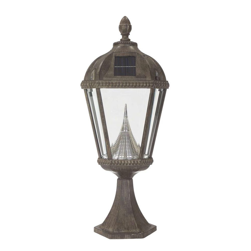 Gama Sonic Royal Solar Weathered Bronze Outdoor Post Light on Pier Base