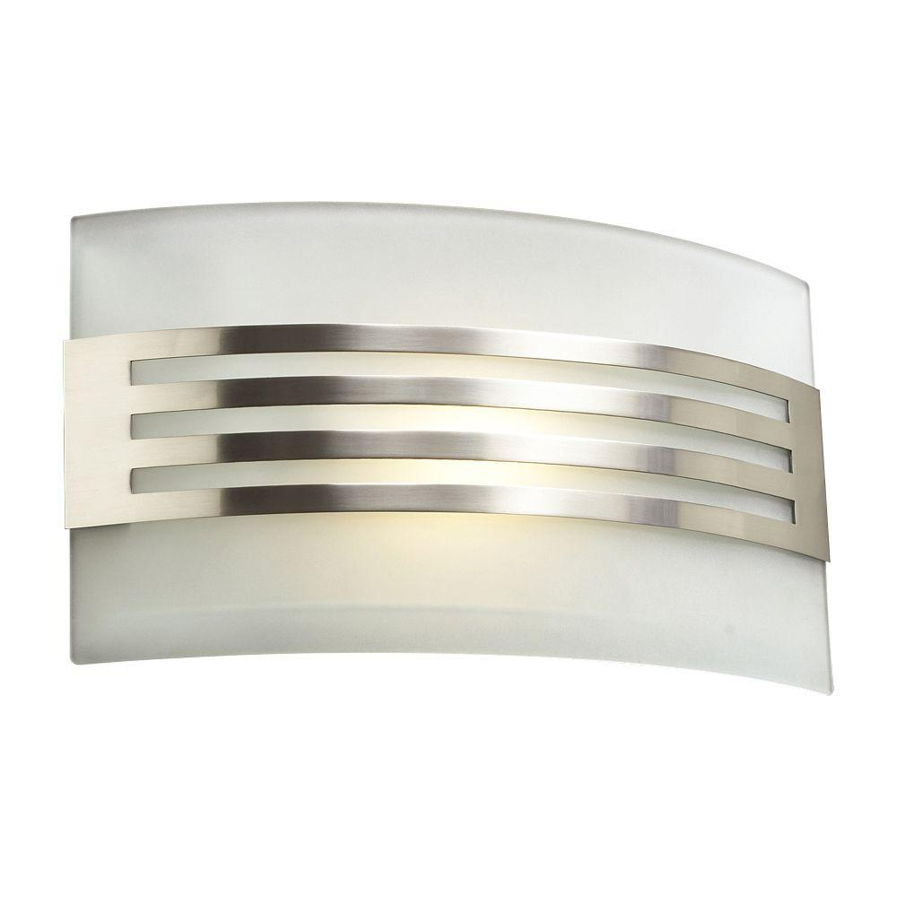 PLC Lighting 1-Light Satin Nickel Sconce with Acid Frost Glass