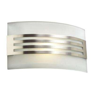 1-Light Satin Nickel Sconce with Acid Frost Glass