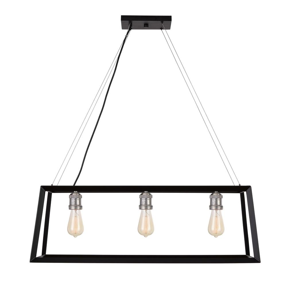 Home Decorators Collection Walden Forge 3-Light Black Frame Linear Island Pendant with Antique Nickel